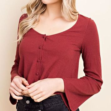 Long Sleeve Button Down Crop Top