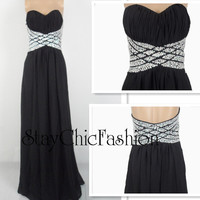 Jewels Encrusted Waist Black Long Ruched Chiffon Dress for Prom