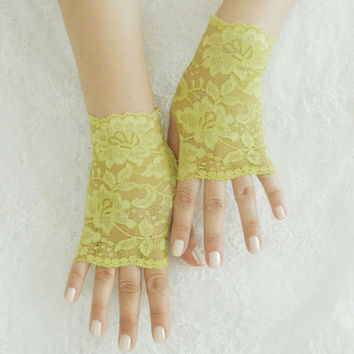 Lace glove,  Fluorescent yellow glove, lolita, steampunk, fingerless glove, FREE SHIP