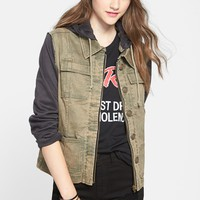 OOKIE & LALA Contrast Sleeve Twill Jacket (Juniors) | Nordstrom