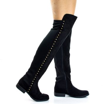 Montana71s Black By Bamboo, Faux Suede Elastic Equestrian Riding Boots w Metal Stud Detail