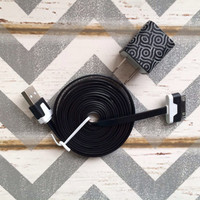 New Super Cute Black & White Swirl Designed USB Wall Connector + 10ft Flat Black iPhone 4/4g/4s Cable Cord