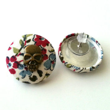 Floral skull girly rockabilly fabric button earrings
