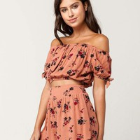 IVY & MAIN Floral Off The Shoulder Top And Shorts Set