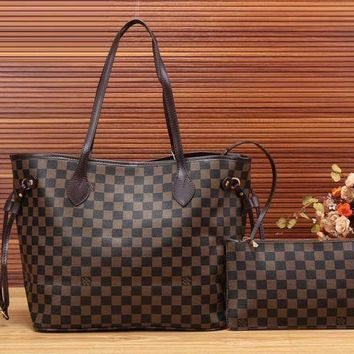 PEAPV9O Louis Vuitton Women Trending Leather Handbag Bag Cosmetic Bag Two Piece Set G