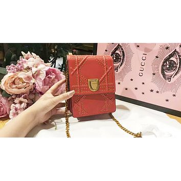 DIOR Trending Ladies Leather Metal Chain Buckle Shoulder Bag Mobile Phone Package Satchel Crossbody Red I-QS-MP-JZLB