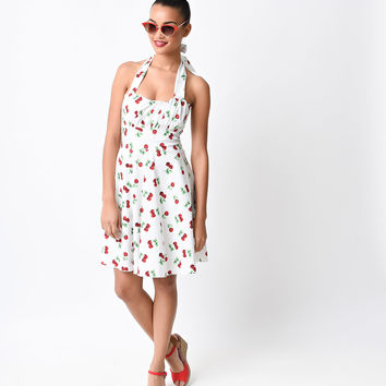 1950s Style White & Red Cherry Print Halter Flare Dress