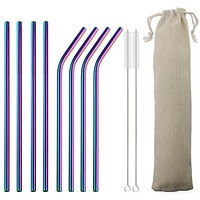 High Quality Metal Colorful Straw With Cleaner Brush Bar Party Accessory