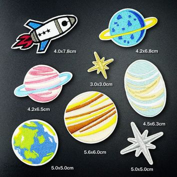 8pcs/lot Universe Space Exploration Planet Badges Embroidery Patch Applique Ironing Clothing Sewing Supplies Decorative Patches
