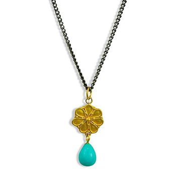 Gold Rosette Necklace Turquoise Teardrop
