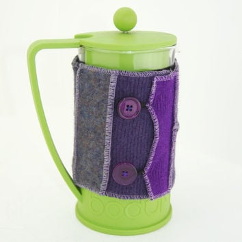 Bodum Cover in Upcycled Wool - French Press Coffee Cozy - Purple Pink Rose