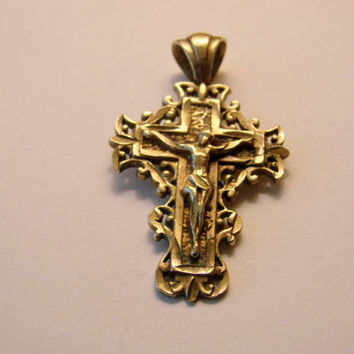 20% SALE Ornate Vintage Gold Cross Pendant / Marked 14K / Antique / Religious / Jewelry / Jewellery