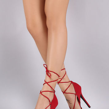 Qupid Almond Toe Dorsay Lace Up Stiletto Platform Pump