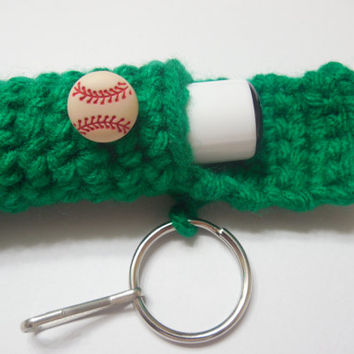 Sports Lip Balm Cozy / Holder / Keyring - Baseball, Softball, Soccer, Basketball, Football - Your Choice of Color