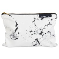 Marble Makeup Bag Cosmetic Bag Toiletry Makeup Case Pouch Organizer Travel Holder Kit Clutch Bag Makeup Bag Large (White Marble)