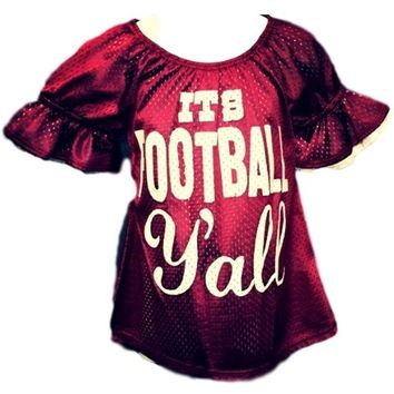"Girls ""It's Football Y'all"" Bell Sleeve Mesh Jersey Shirt, Burgundy-White"