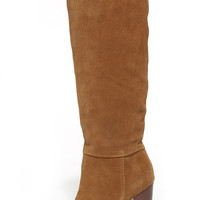 Report Signature Lannister Tan Suede Leather Knee-High Boots
