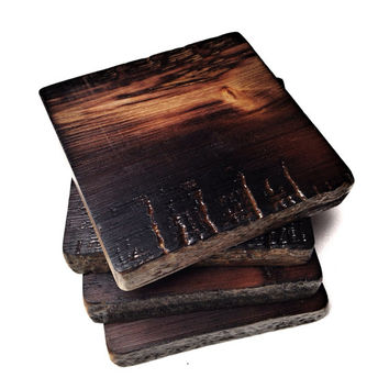 Wildfire Barn Wood Coasters