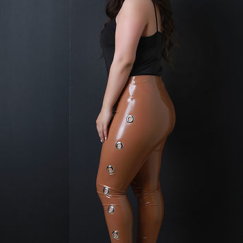 High Waisted Latex Side Eyelet Leggings | UrbanOG