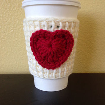 Ivory Coffee Cozy with Red Heart, Tunisian Crochet Coffee Sleeve with Red  Heart, Valentine Cup Cozy, Reusable Eco Friendly