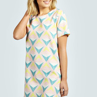 Deb Triangle Print Woven Shift Dress