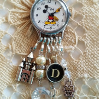 Vintage Mickey Mouse Watch Necklace, Mickey Mouse Charm Necklace, Walt Disney Watch, D Typewriter Key, 24 Inch Chain, Walt Disney Necklace