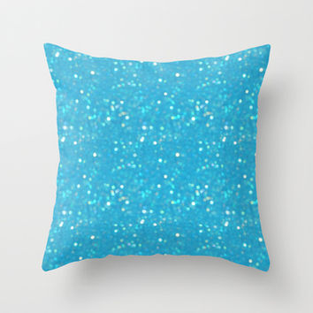 Soft Blue Glimmering Sparkles Throw Pillow by KCavender Designs