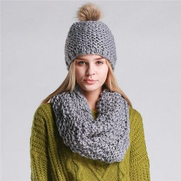 Knitted Hat  and Collar Set Multiple Colors