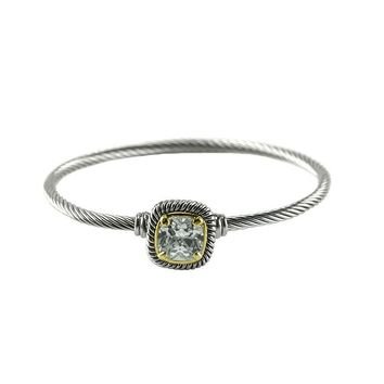 Chartra Clear Crystal Silver Cable Bangle Bracelet