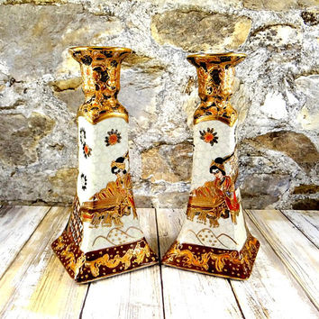 Satsuma Candlestick Holders, Hand Painted, Heavy Gold Gilt