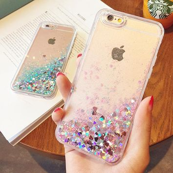 2016 Cute Bling Sequins Liquid Sand Soft TPU Capa Para Coque Quicksand Case For iphone 5 5s SE 6 6s 6plus 7 plus Glitter Cover