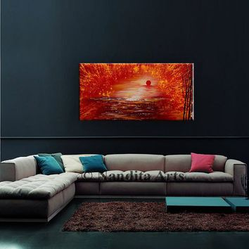 """Painting, 48"""" Large Landscape Tree Art, Red Sunset Artwork, Original Painting, Landscape Painting, original Painting on Canvas by Nandita"""