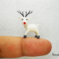 Lovely White Reindeer - Teeny Tiny Crocheted Miniature Deers - Made To Order