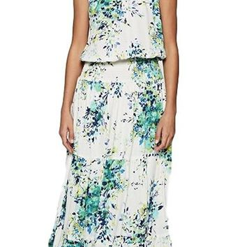 Love Stitch Floral Sleeveless Maxi Dress with Smocked Waist and Tiered Skirt