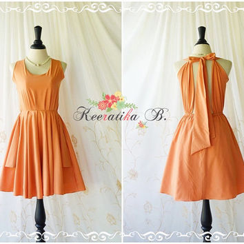 A Party Kate Cocktail Dress Cut Off Back Halter Dress Pale Tangerine Party Dress Prom Wedding Bridesmaid Dress Halter Backless Dress XS-XL