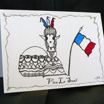 Alternative / Folk - Happy Bastille Day - Greeting Card w / envelope - Recycled Paper - IntricateKnot