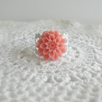 Coral Pink Dahlia Flower Ring Vintage by theblackstarboutique