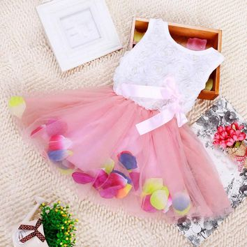 New Summer Girls Sweet Bow Gown Dress Baby Aestheticism Fairy Tale Petals Colorful Dress Chiffon Princess Newborn Baby Dresses