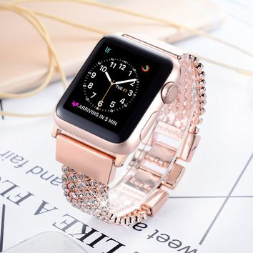 Apple Watch Bands, FresherAcc Bling CZ Crystal Diamond Loop Replacement Strap for iWatch Series 1, 2, 3, Sport Edition Nike+ Hermes