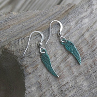 Dainty wings earrings. Blue patina finish.fashion earrings.