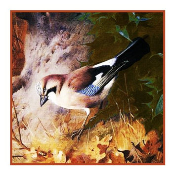 House Martin By Naturalist Archibald Thorburn's Bird Counted Cross Stitch or Counted Needlepoint Pattern