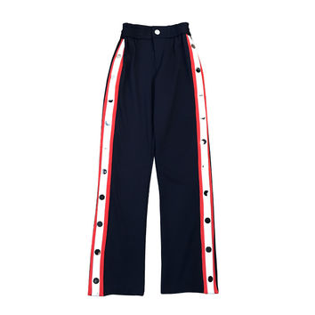 WISHBOP NEW Woman Fashion Navy Full Trousers Elastic Waist Sides Striped White Red Slits with Metal Press Snap Buttons up