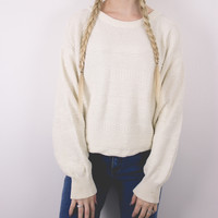 Vintage White Tribal Knit Minimalist Solid Sweater