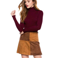 High Neck Long Sleeve Solid Color Sweater
