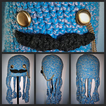 Crochet Childrens Otis Octopus Hat with Mustache & Monocle - Kids Hat - Crochet Animal Hat - Crochet Kids Beanie - Character Hat - Kawaii