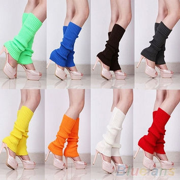 Women Solid Color Knit Winter Leg Warmers Stocking Knee High Legging Wool Greave Socks = 1958334212
