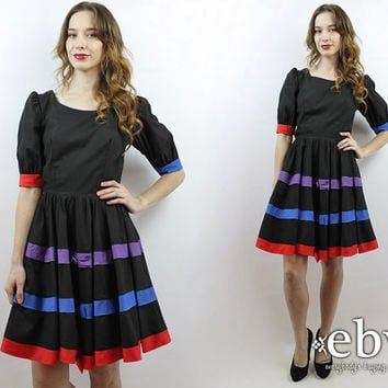 Square Dance Dress Babydoll Dress Black Dress Puff Sleeve Dress Vintage 80s Black Striped Bow Party Dress S M Colorful Dress 1980s Dress