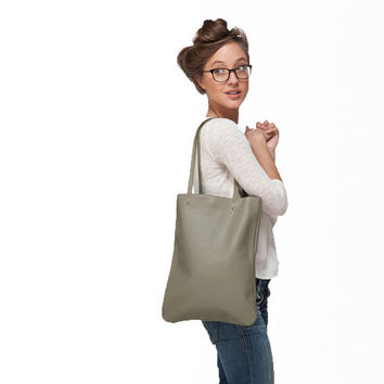 Khaki leather tote bag by Leah Lerner