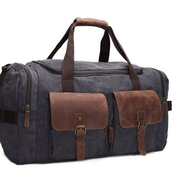 BLUESEBE CANVAS LEATHER OVERNIGHT/TRAVEL DUFFLE BAG