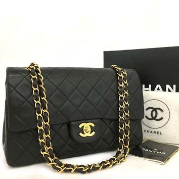 Chanel Lambskin Classic Double Flap 25 Quilted Black 5633 (Authentic Pre-owned)